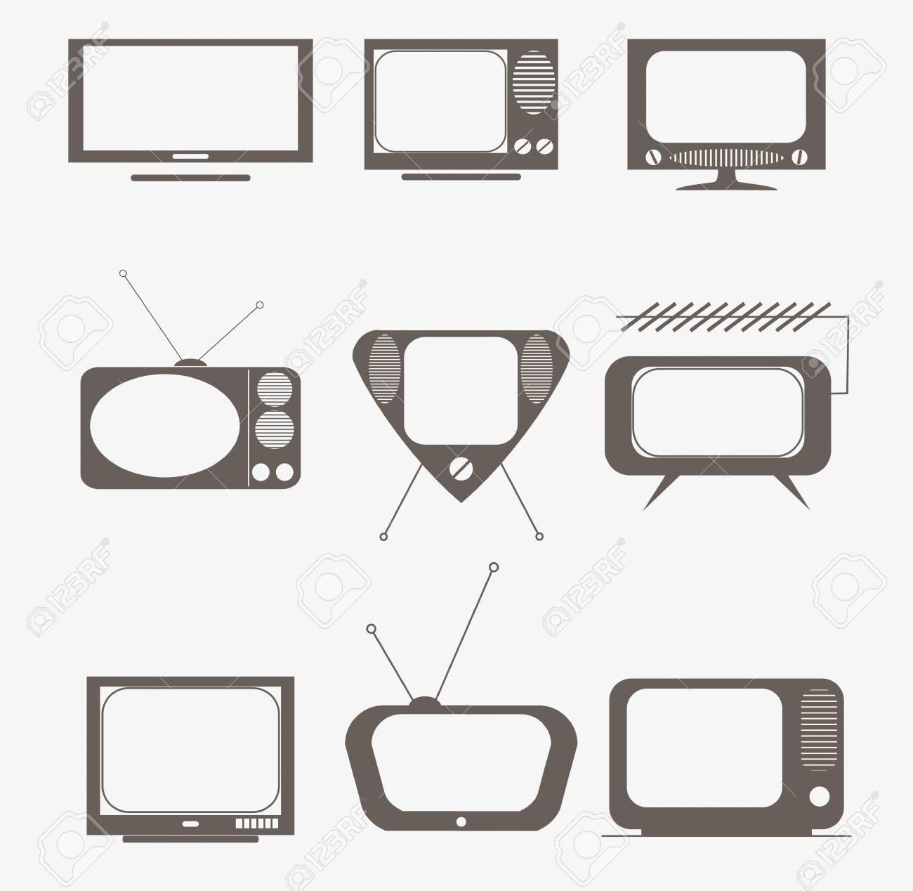 retro tv icons set Stock Photo - 16840393