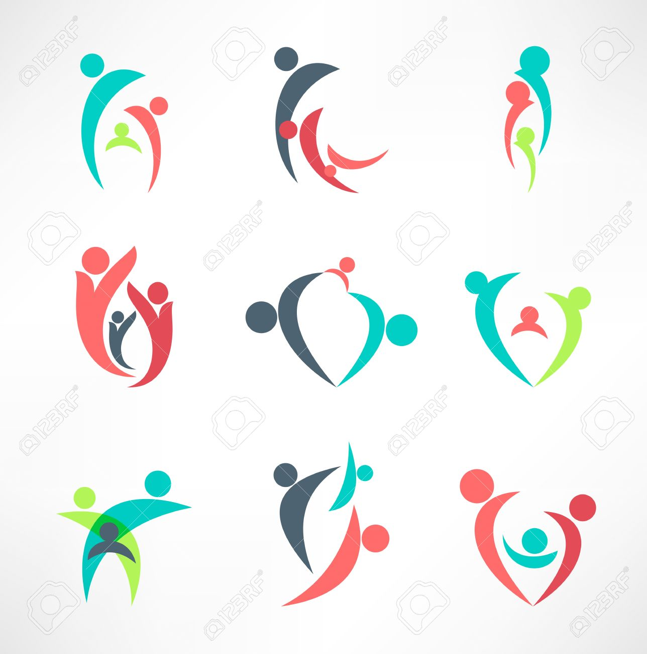 family icons Stock Vector - 17463436