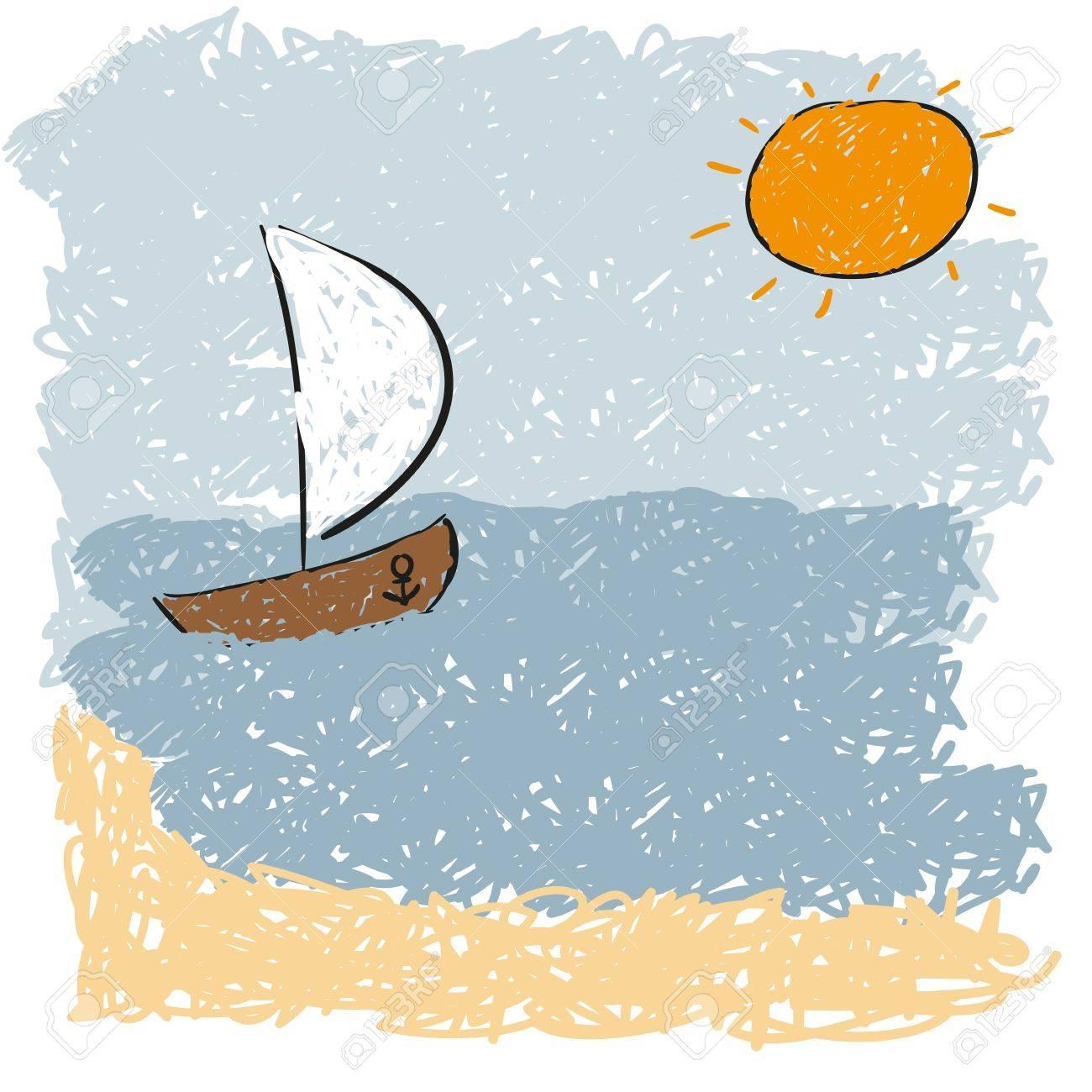 sea waves and rising sun Stock Vector - 17463296