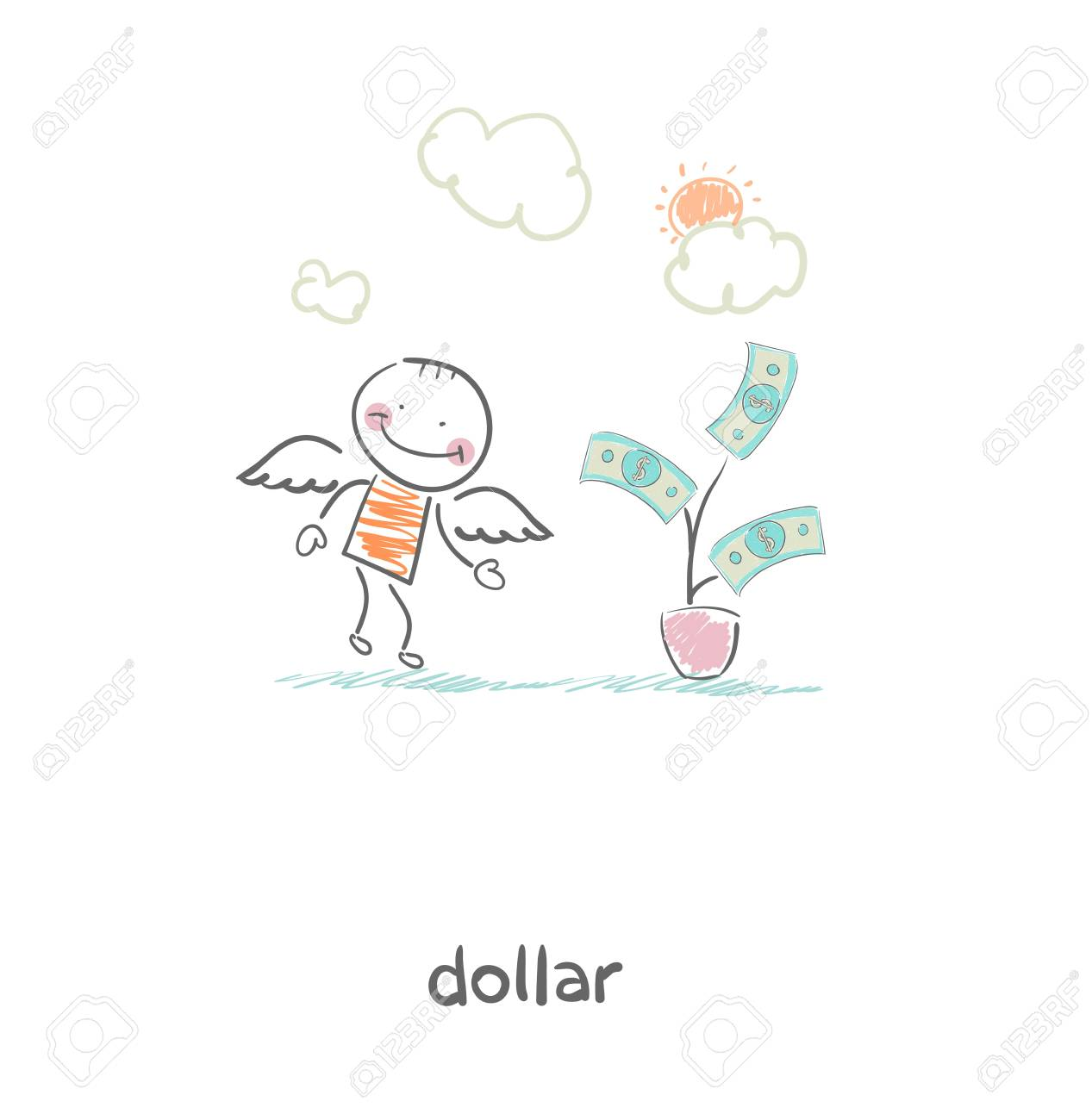 Money tree and angel  Illustration Stock Vector - 17954833