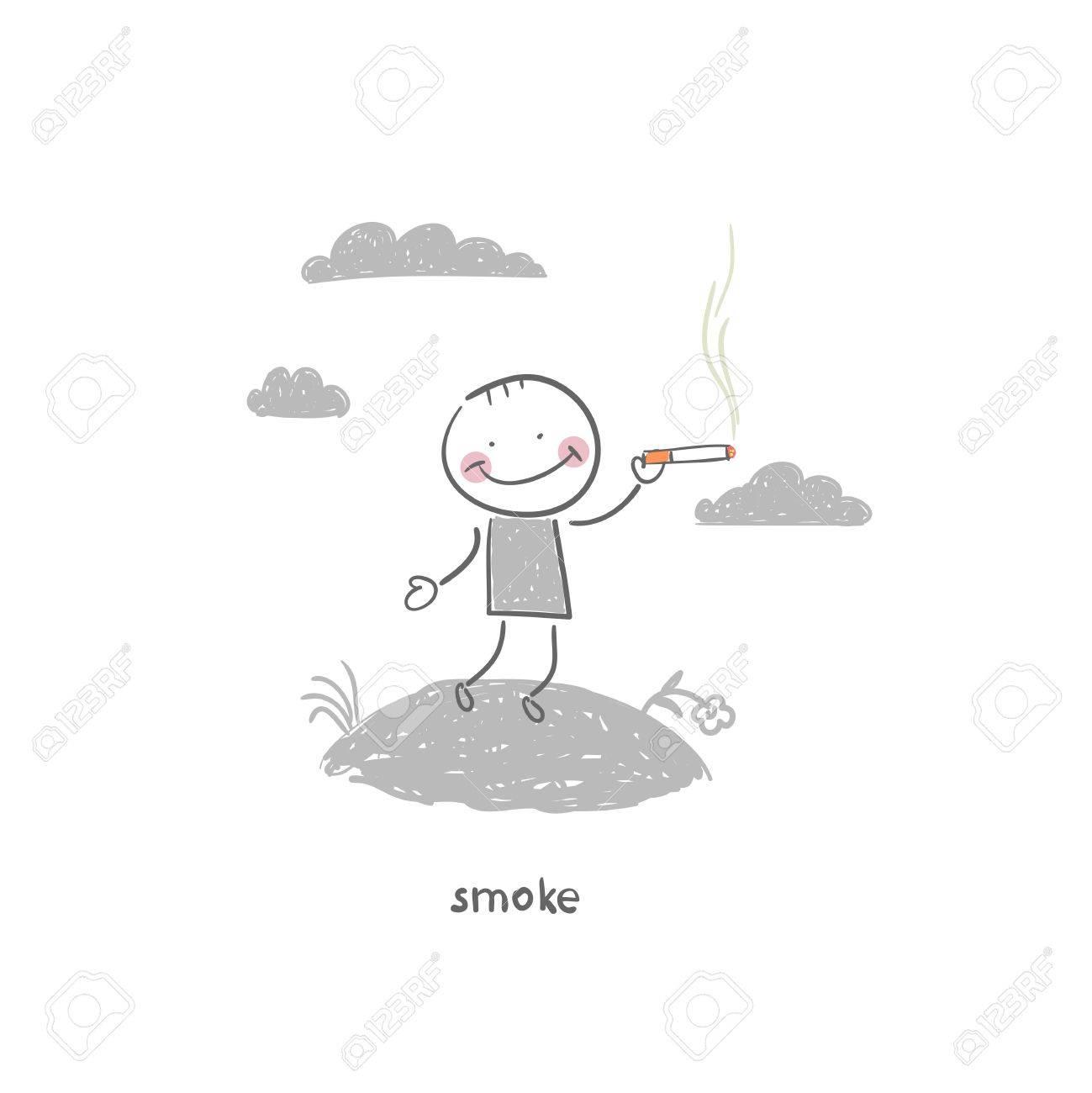 Smoker. Illustration. Stock Vector - 18035551