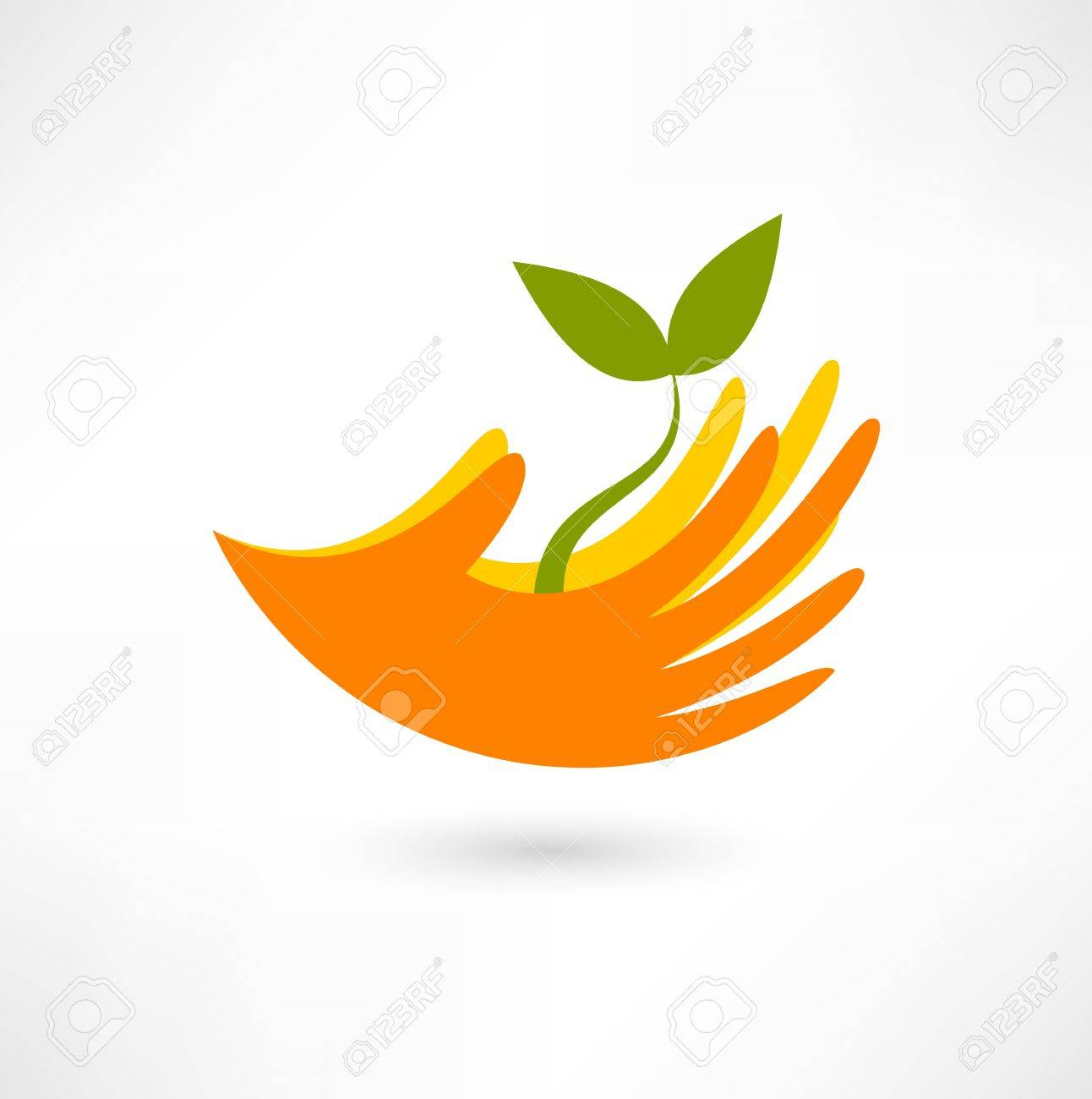 Hands and plant icon Stock Vector - 18035602