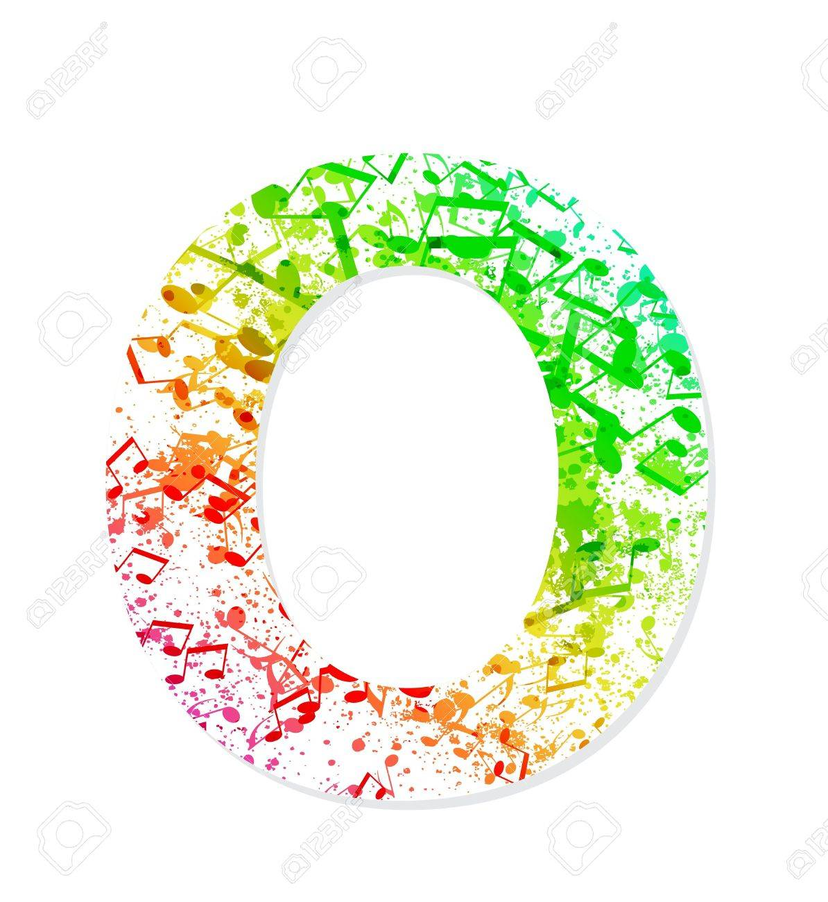 Music Theme Grungy Font Letter O Stock Vector