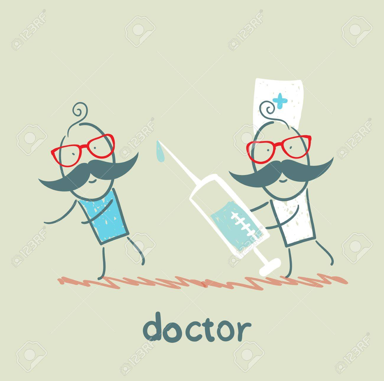 Doctor runs to a syringe for patient Stock Vector - 21736356