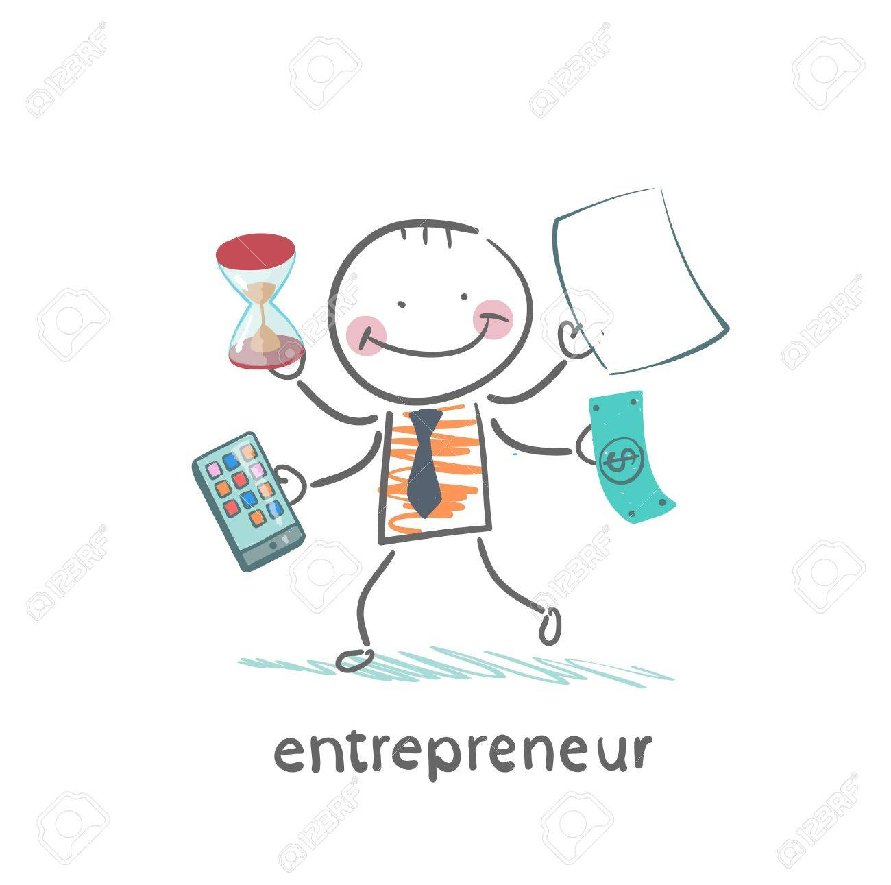 entrepreneur holding a calculator, money, hourglass, documents Standard-Bild - 21983017