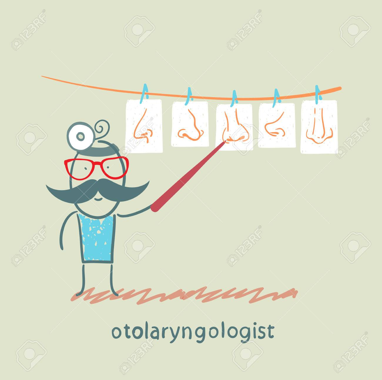 otolaryngologist show pictures with their noses Stock Vector - 22373170