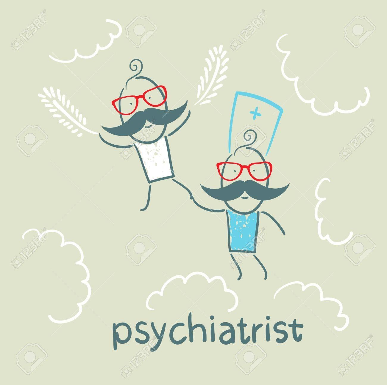 psychiatrist with patient flies in the sky Stock Vector - 22661210