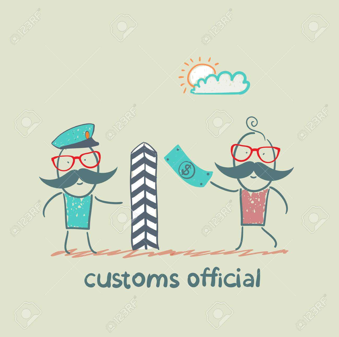 customs officer takes money from the man Stock Vector - 23068127