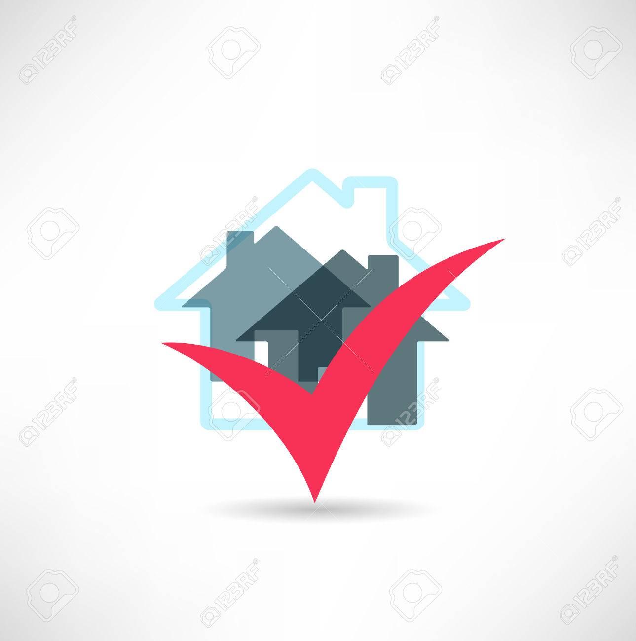 Home and checkbox Standard-Bild - 23076362