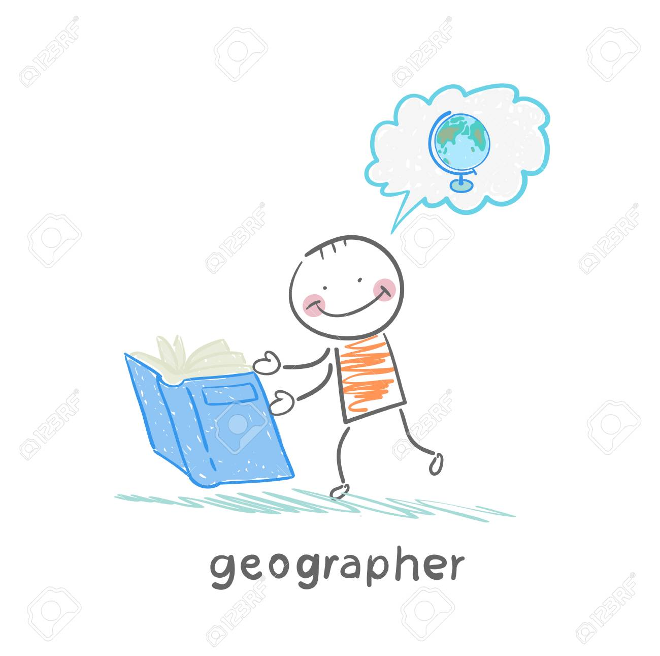 geographer reading a book about the planet Stock Vector - 23708858