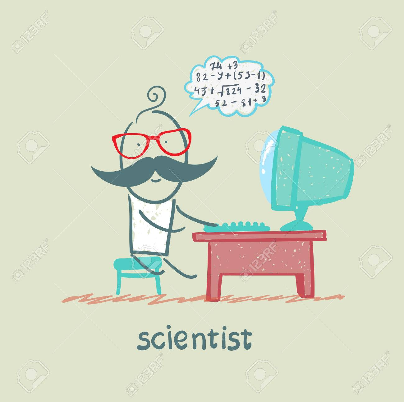 scientist sitting at the computer and think about numbers Stock Vector - 23712737
