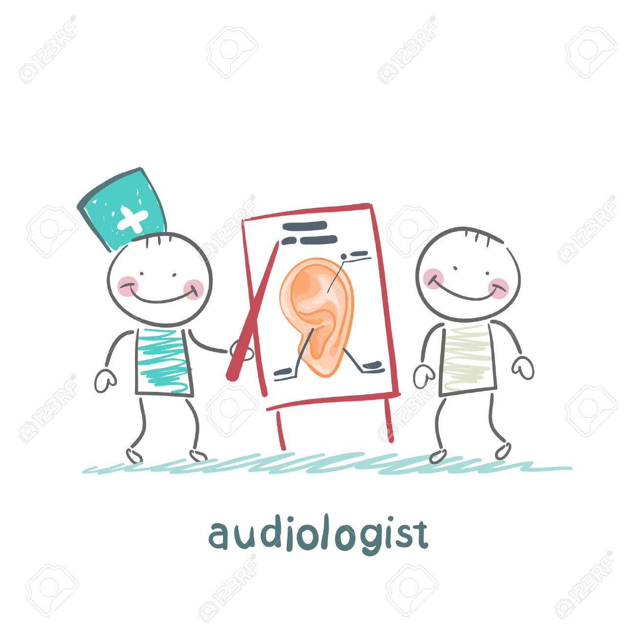 otolaryngologist shows a presentation about the patient's ear Standard-Bild - 24126051