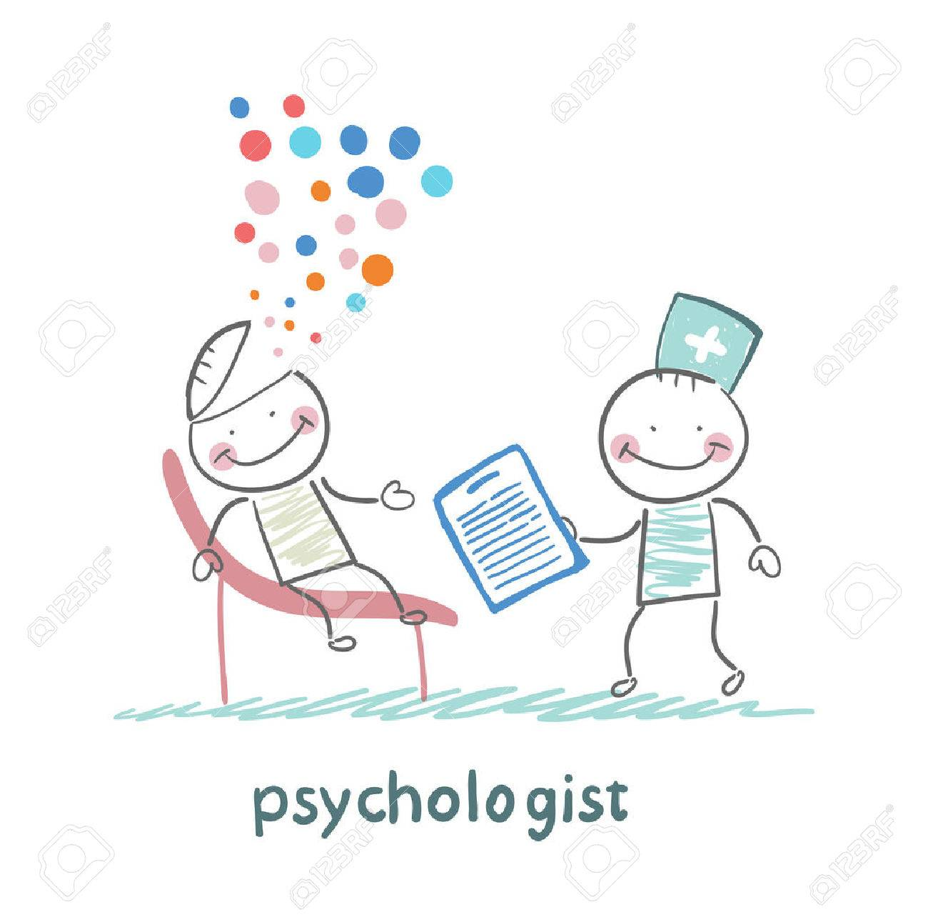 psychologist with a folder, and the patient's head exploded Standard-Bild - 24126173