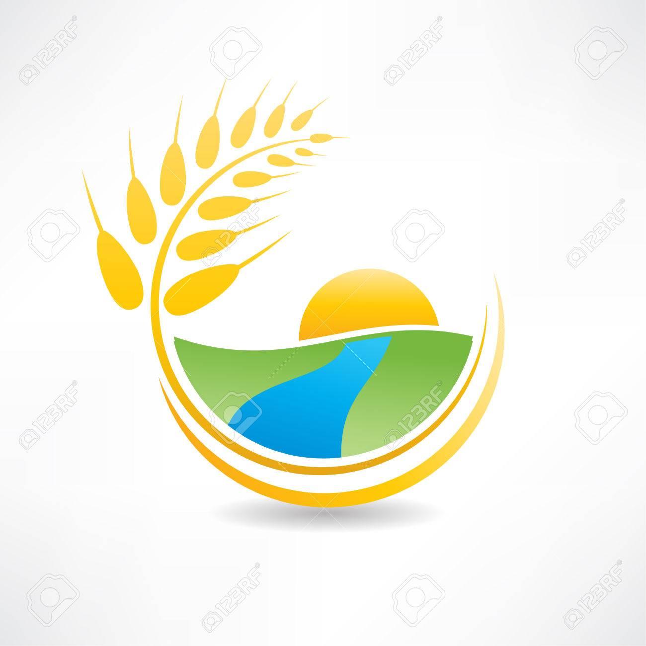 wheat field near the river icon Standard-Bild - 24584115