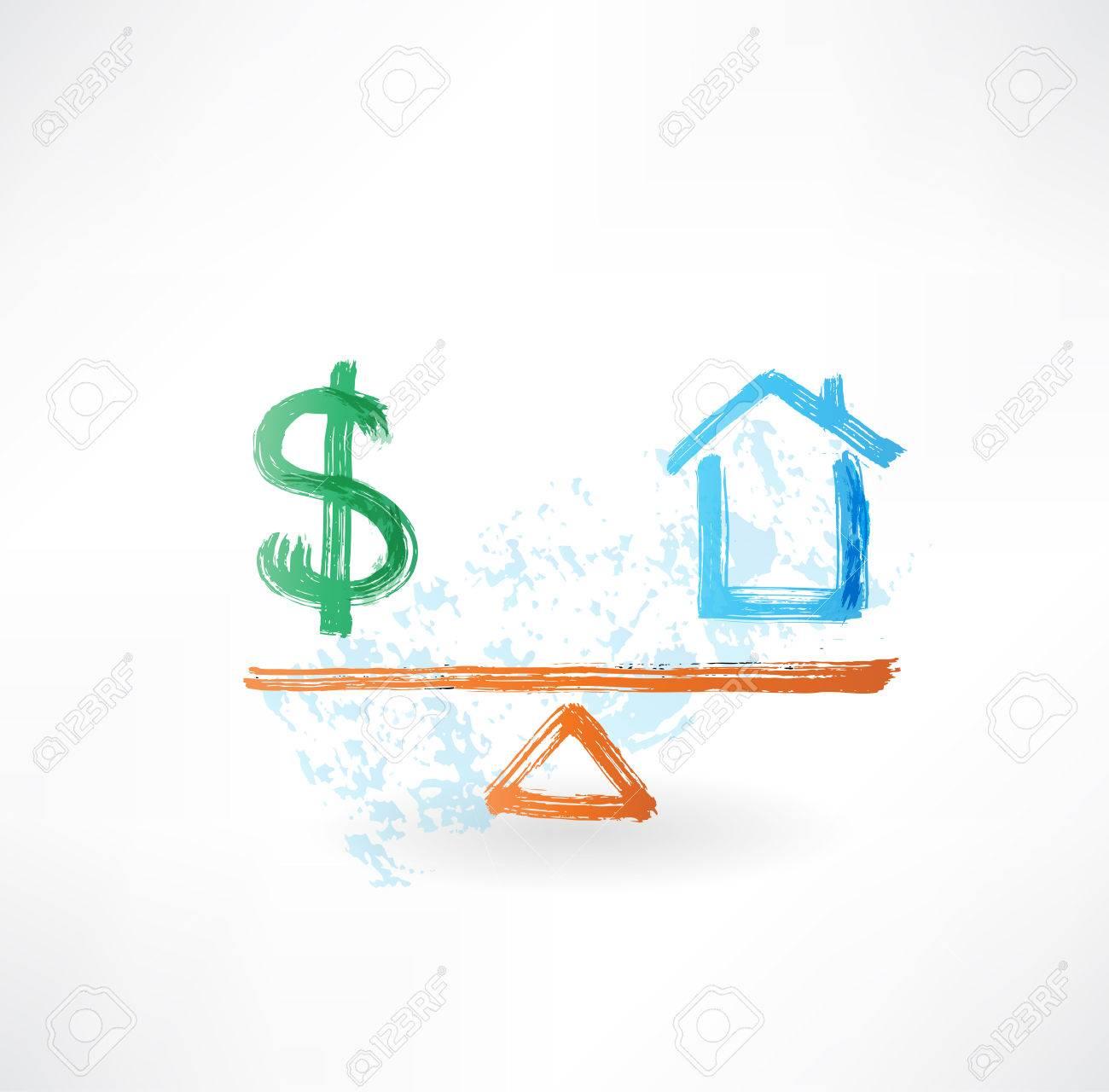money house balance grunge icon Standard-Bild - 25349947