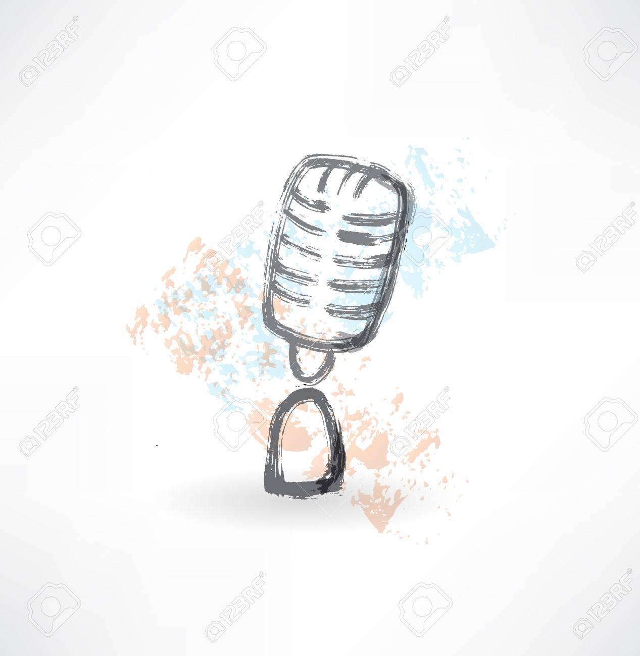 Grunge Icono Del Micrófono De Dibujos Animados