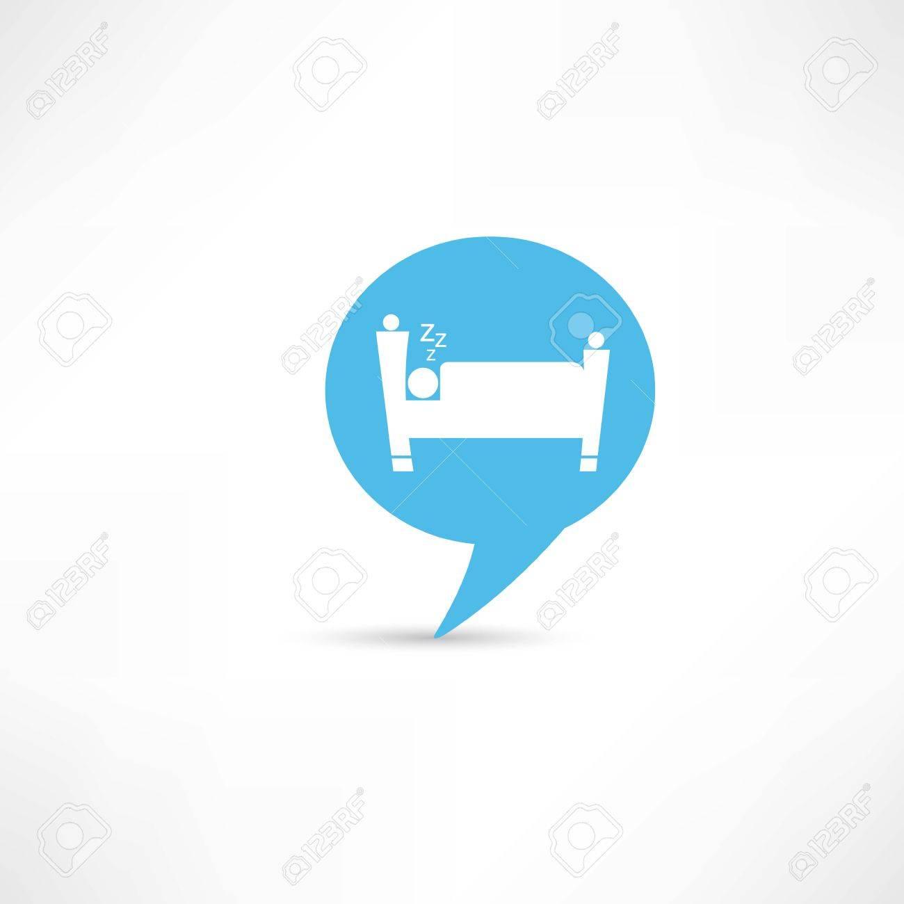 sleeping man in blue speech bubble Stock Vector - 25632155