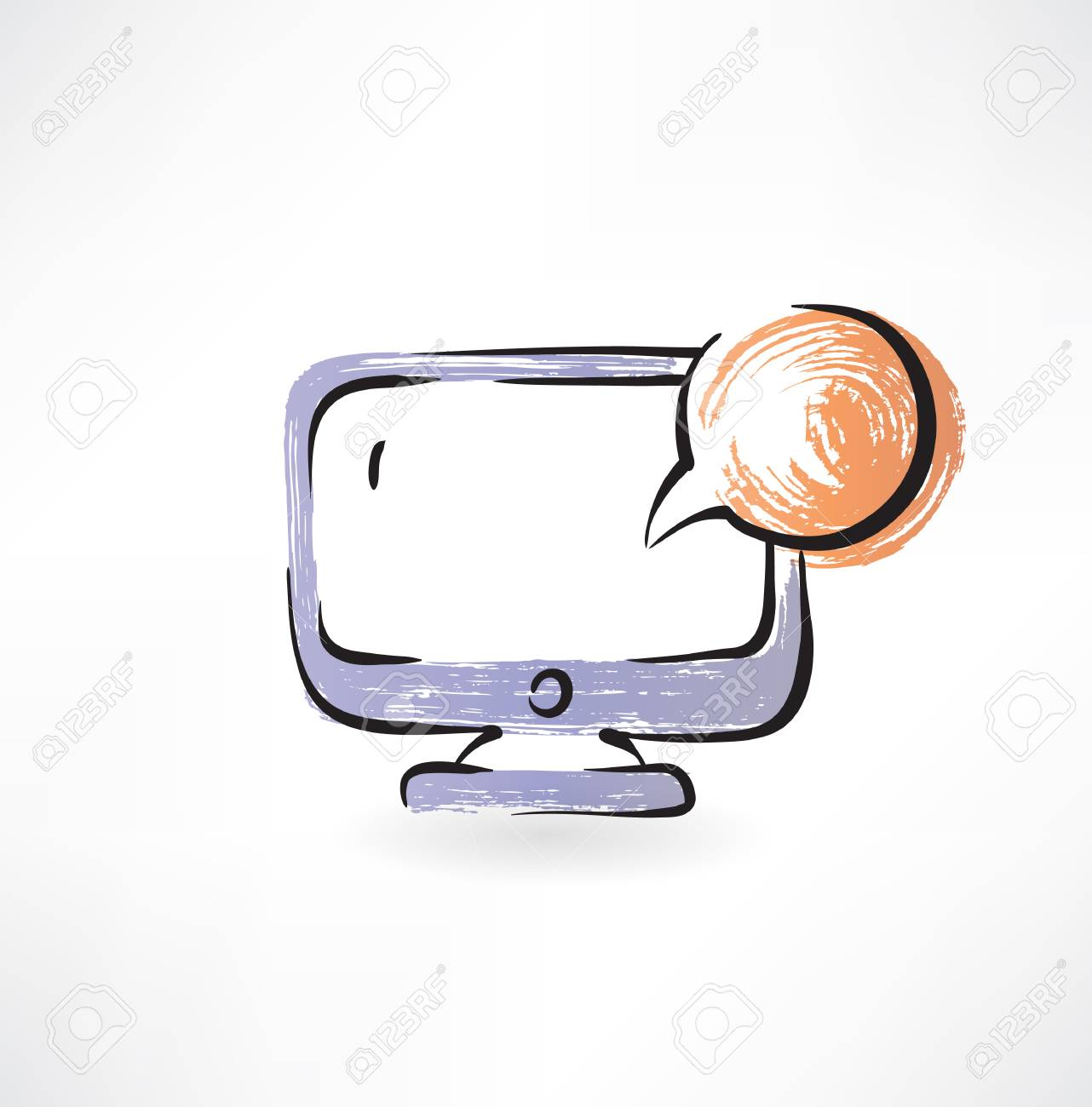 monitor and bubble speech grunge icon Stock Vector - 26178798