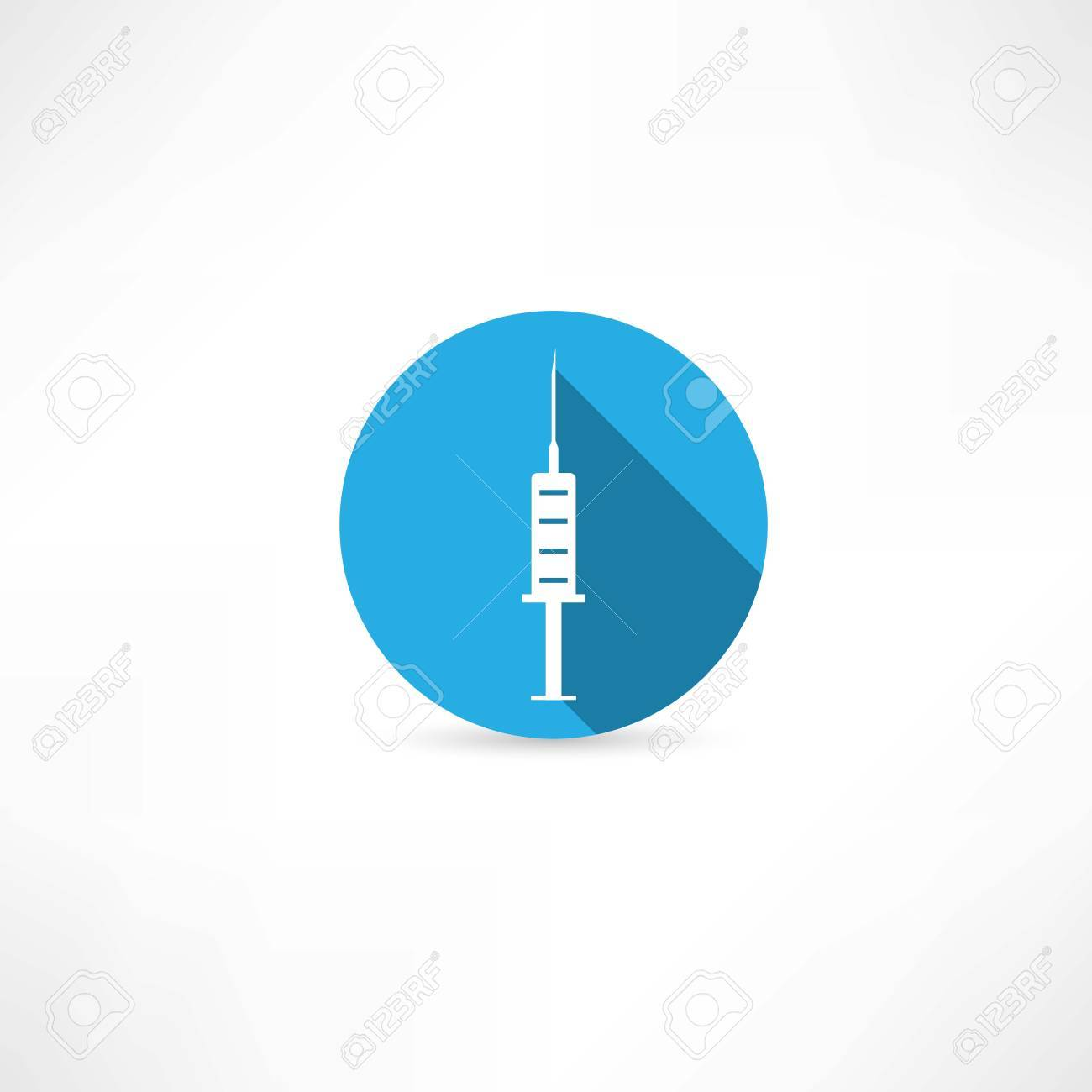 Medical  syringe in the blue circle Stock Vector - 26180231