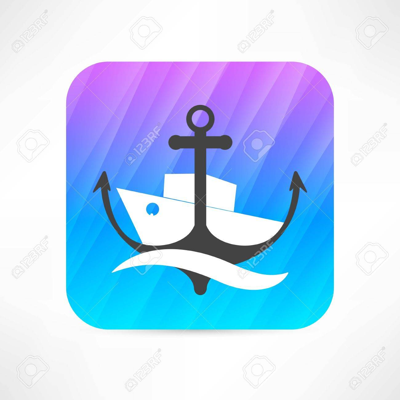 steamer and anchor icon Stock Vector - 27531411