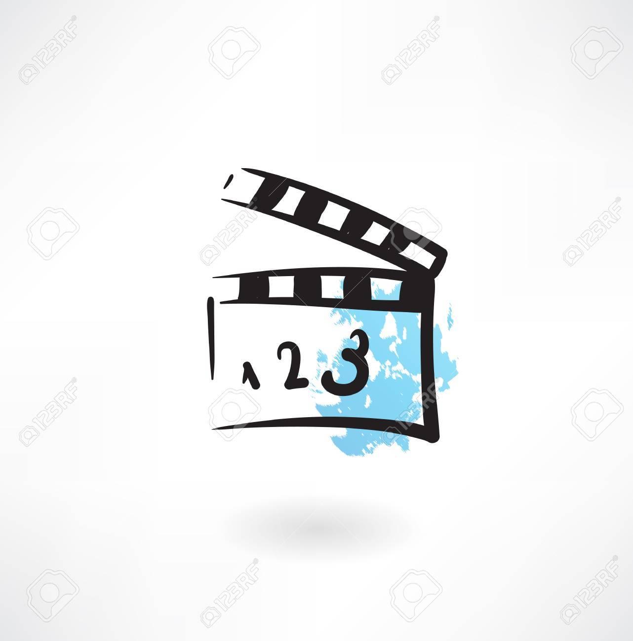 movie clapper grunge icon - 27532987