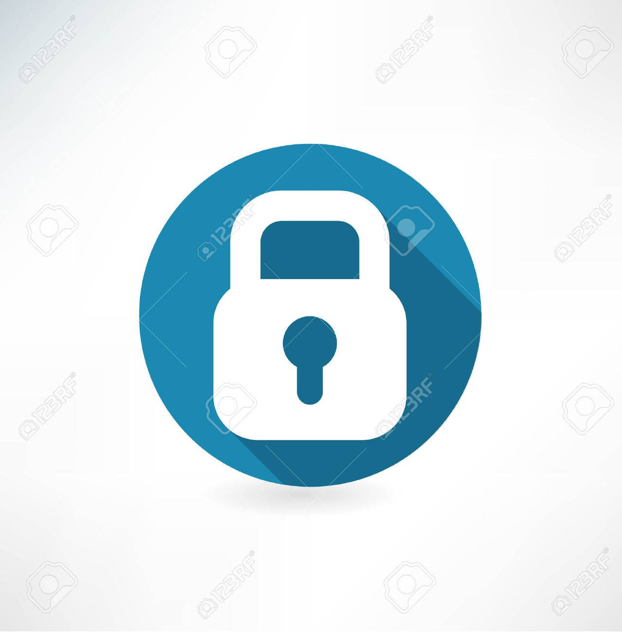 Vector lock icon. Flat design with long shadow - 32471159