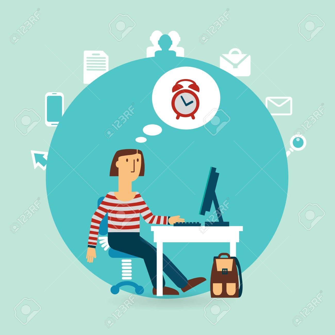 office worker thinking about time illustration - 32471575