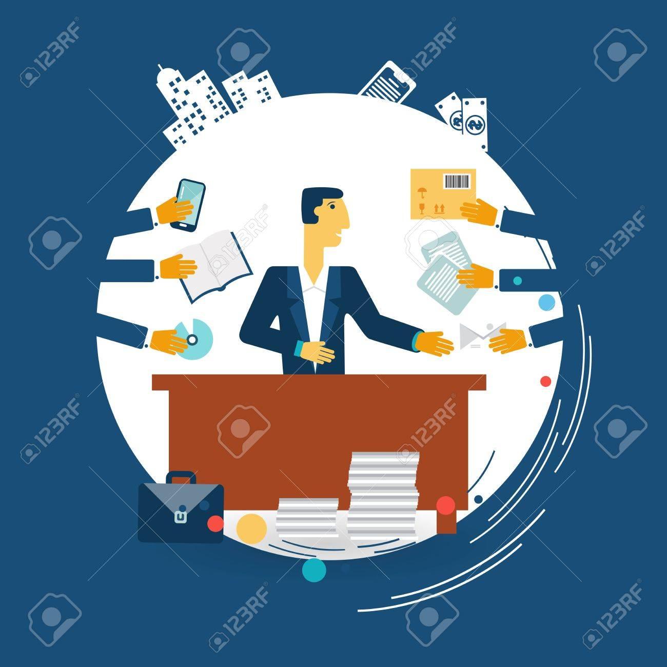 exhausted businessman work illustration Standard-Bild - 32472112