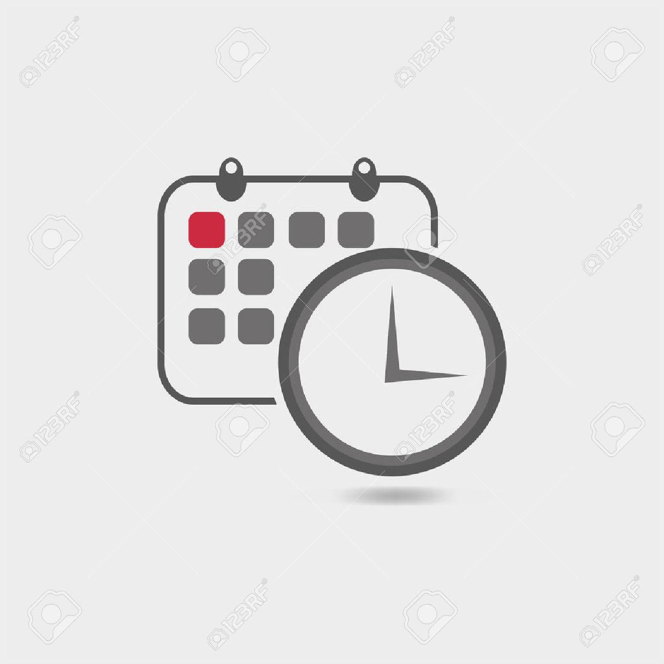 Vector illustration of timing with classic office clock and detailed calendar icon - 33673239