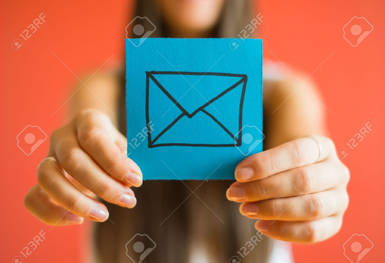 Picture icon envelope in his hand - 33714589