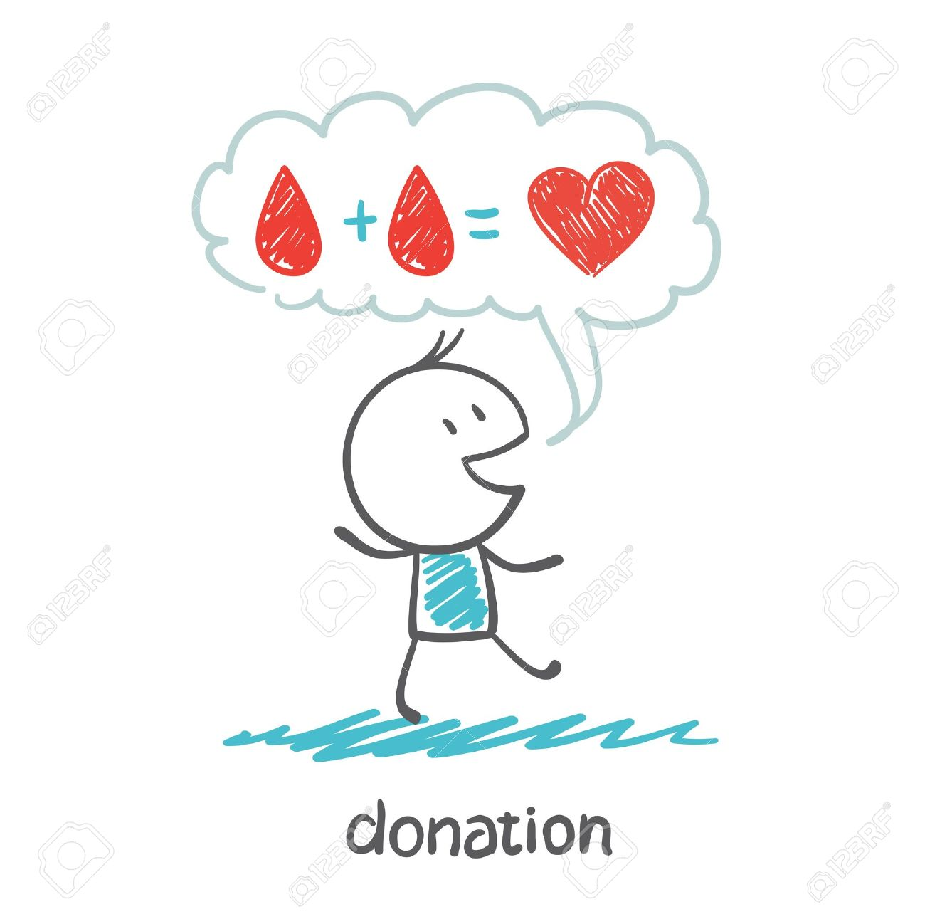a person thinks about blood donation illustration Standard-Bild - 36067760