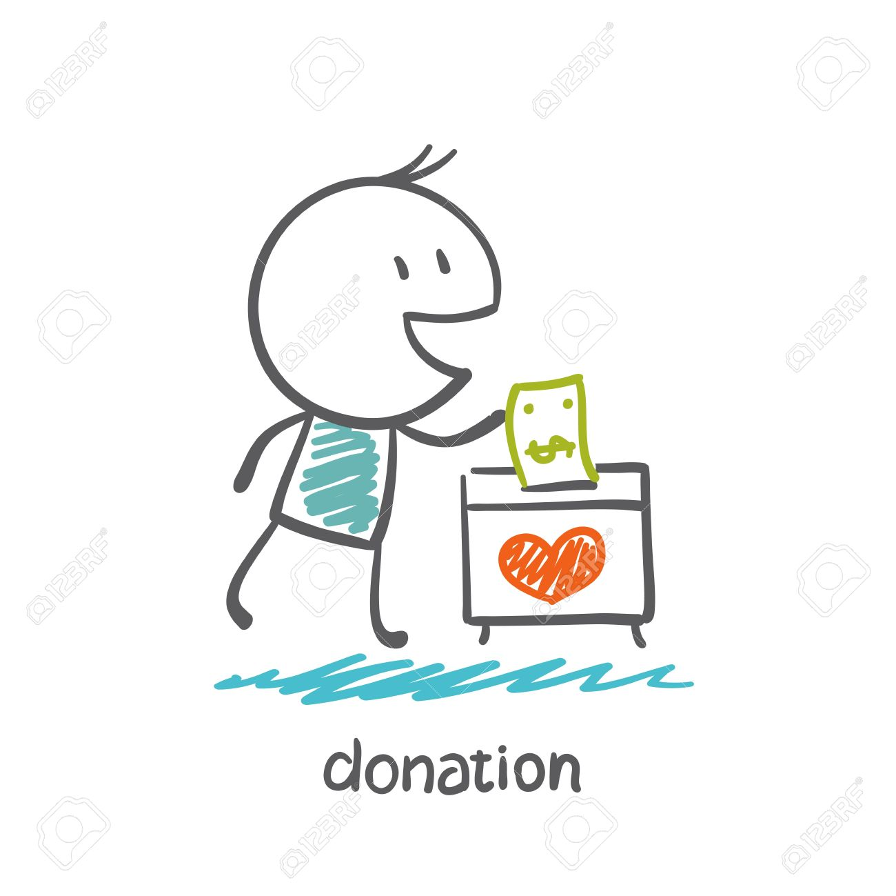man throws money in a box with hearts illustration Standard-Bild - 36067799