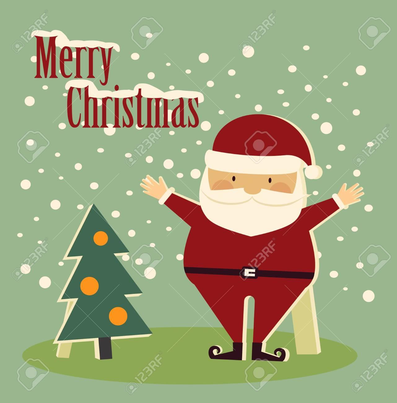Weihnachtsmann Stehen Neben Einem Baum Und Wünschte Frohe ...