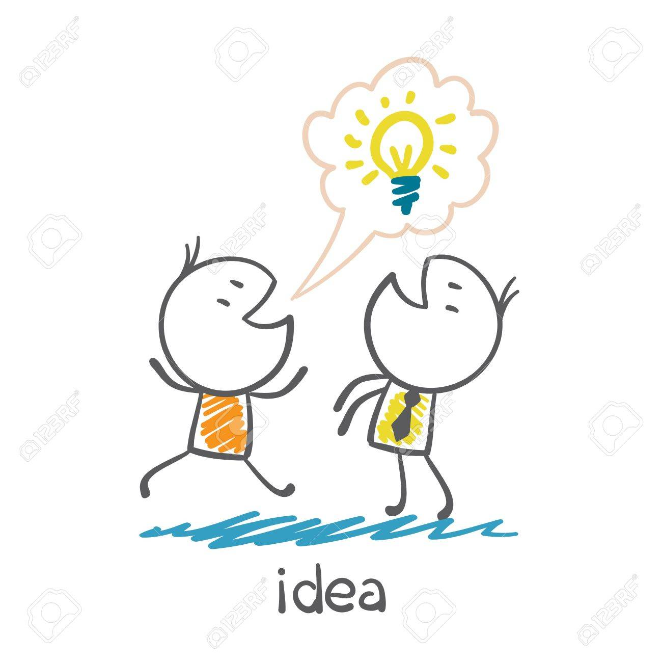 Man With Idea Bulb Runs To Tell The Other Person Illustration Stock Vector