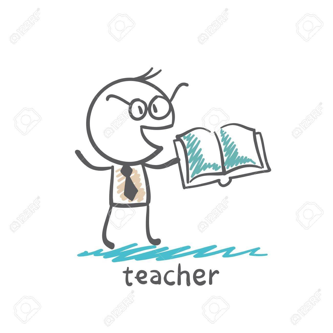 teacher with book illustration - 36068995