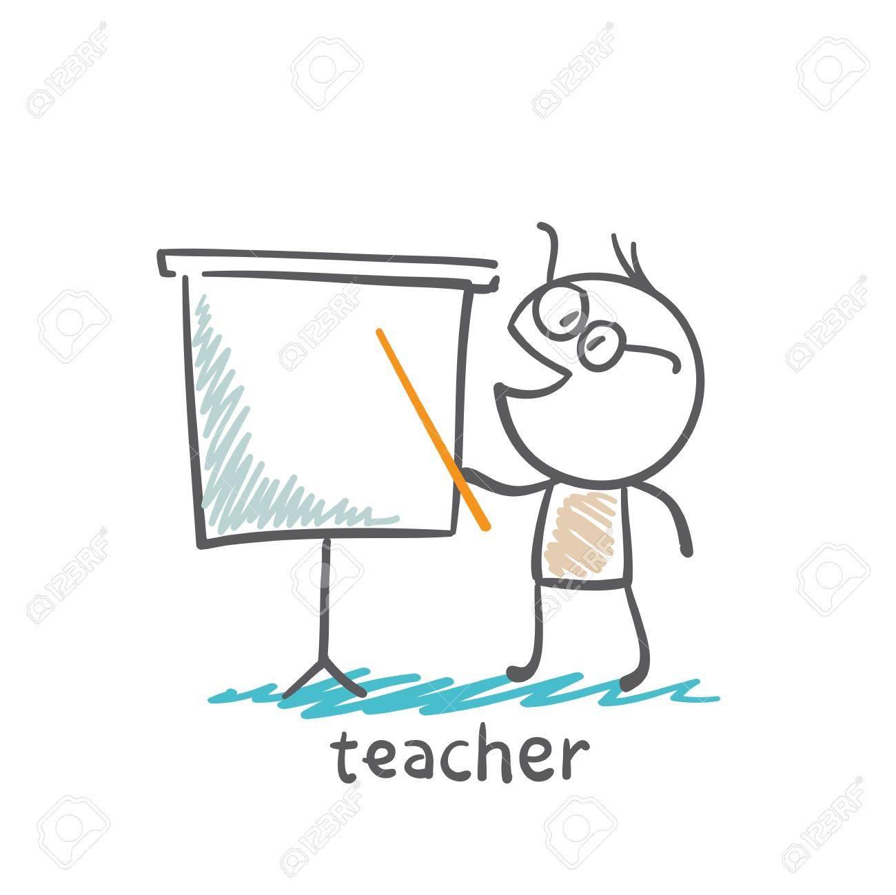 Teacher shows pointer on the board illustration - 36068996