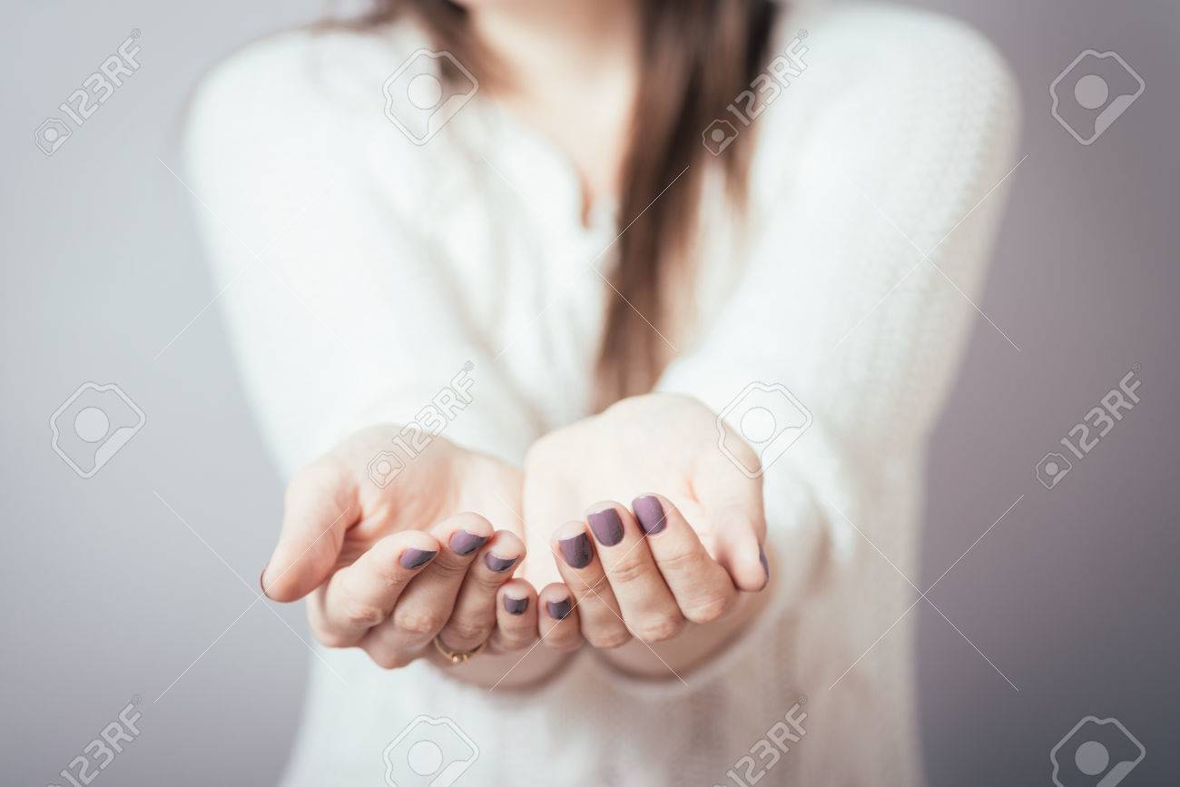 girl holding in his hands something invisible - 42338893