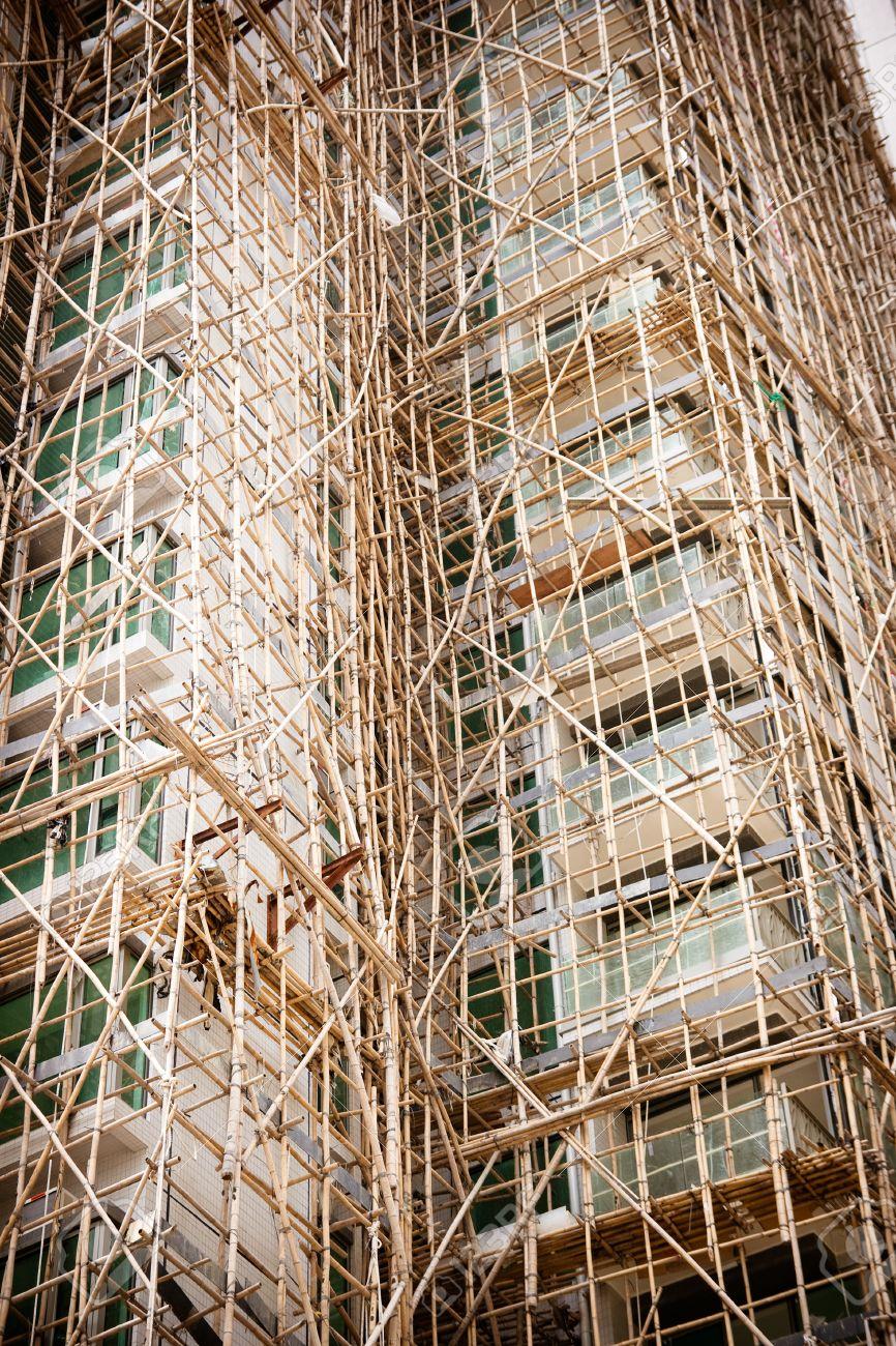 Bambus Gerust Fur Ein Neues Gebaude In Hong Kong China Lizenzfreie