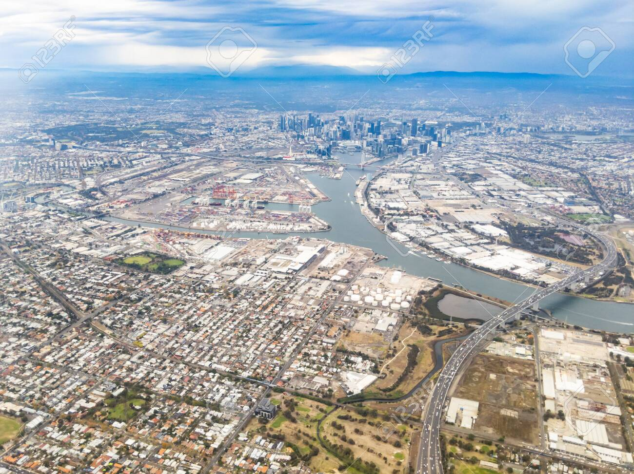 Aerial View Of Melbourne CBD On A Stormy Day Over Melbourne Australia Stock  Photo, Picture And Royalty Free Image. Image 124559360.