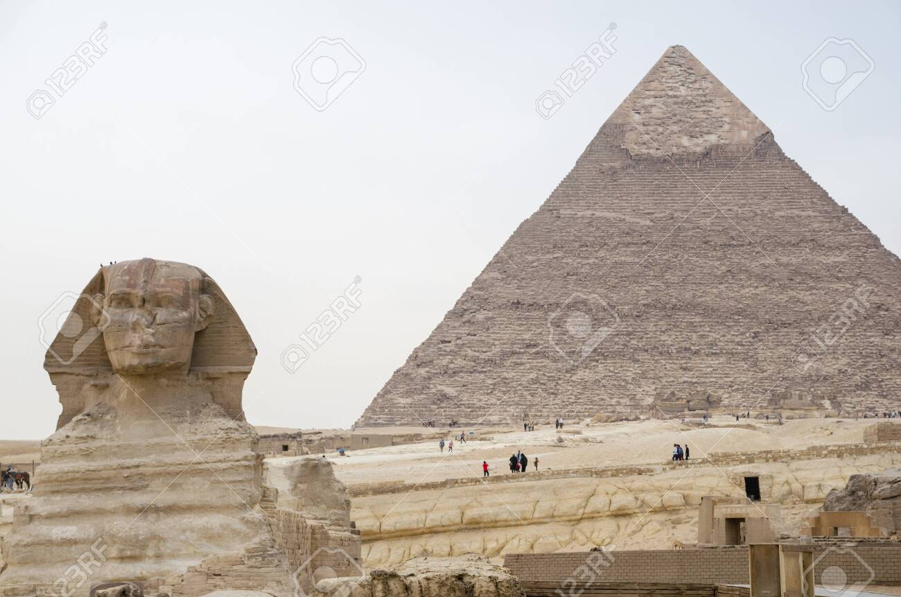 Great Sphinx on the background of the pyramid of Khafre. Cairo Egypt - 141018649