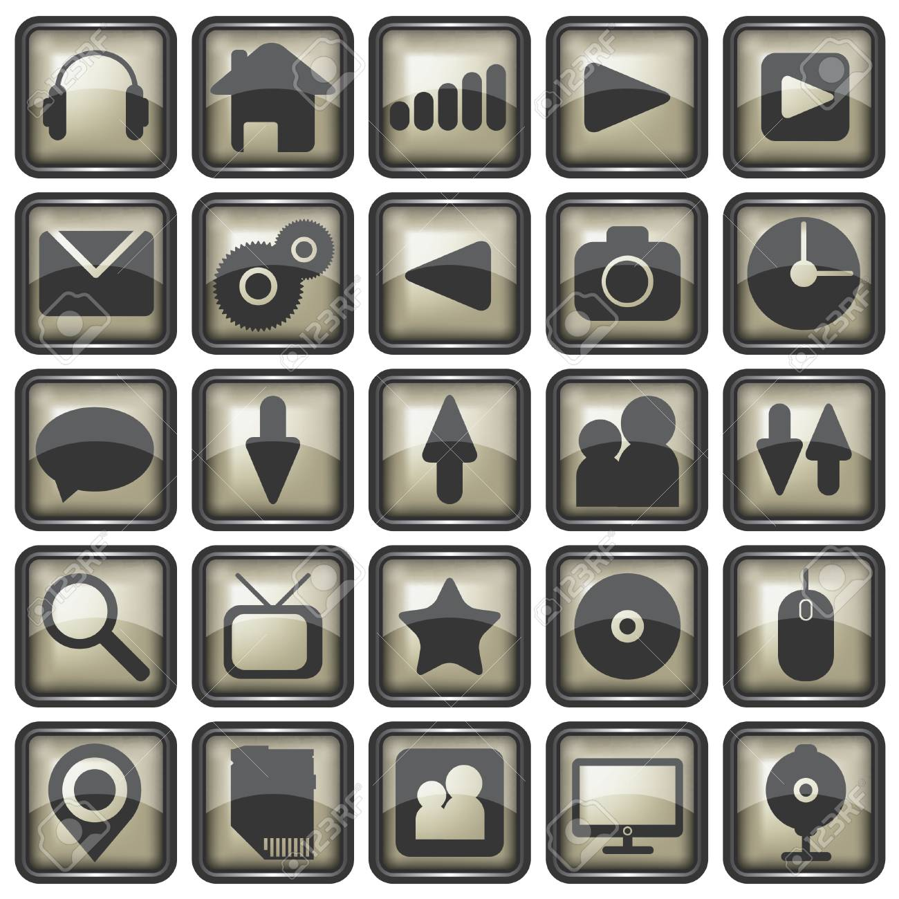 Set of web icons illustration Stock Vector - 24541610