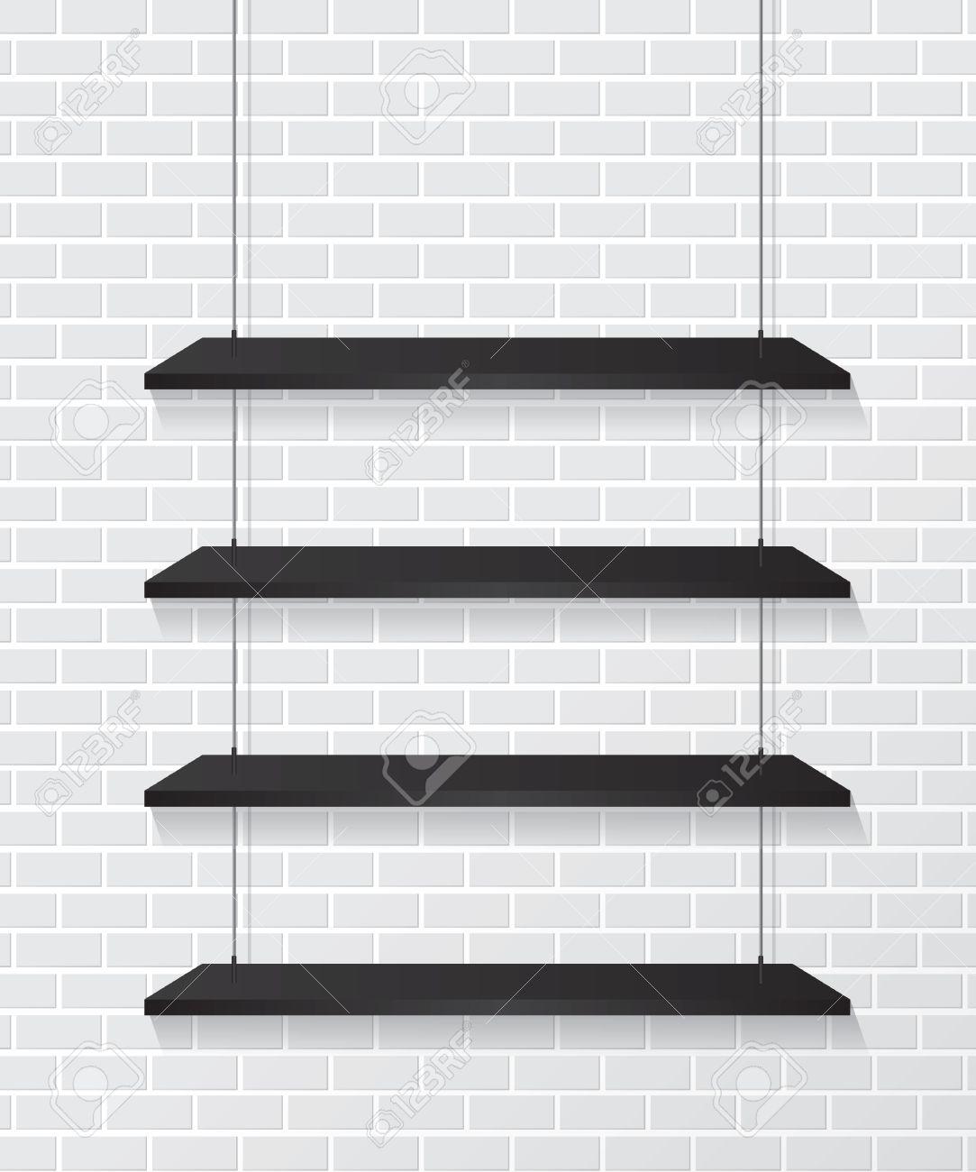 Black Wall Shelves brick wall and black shelves royalty free cliparts, vectors, and