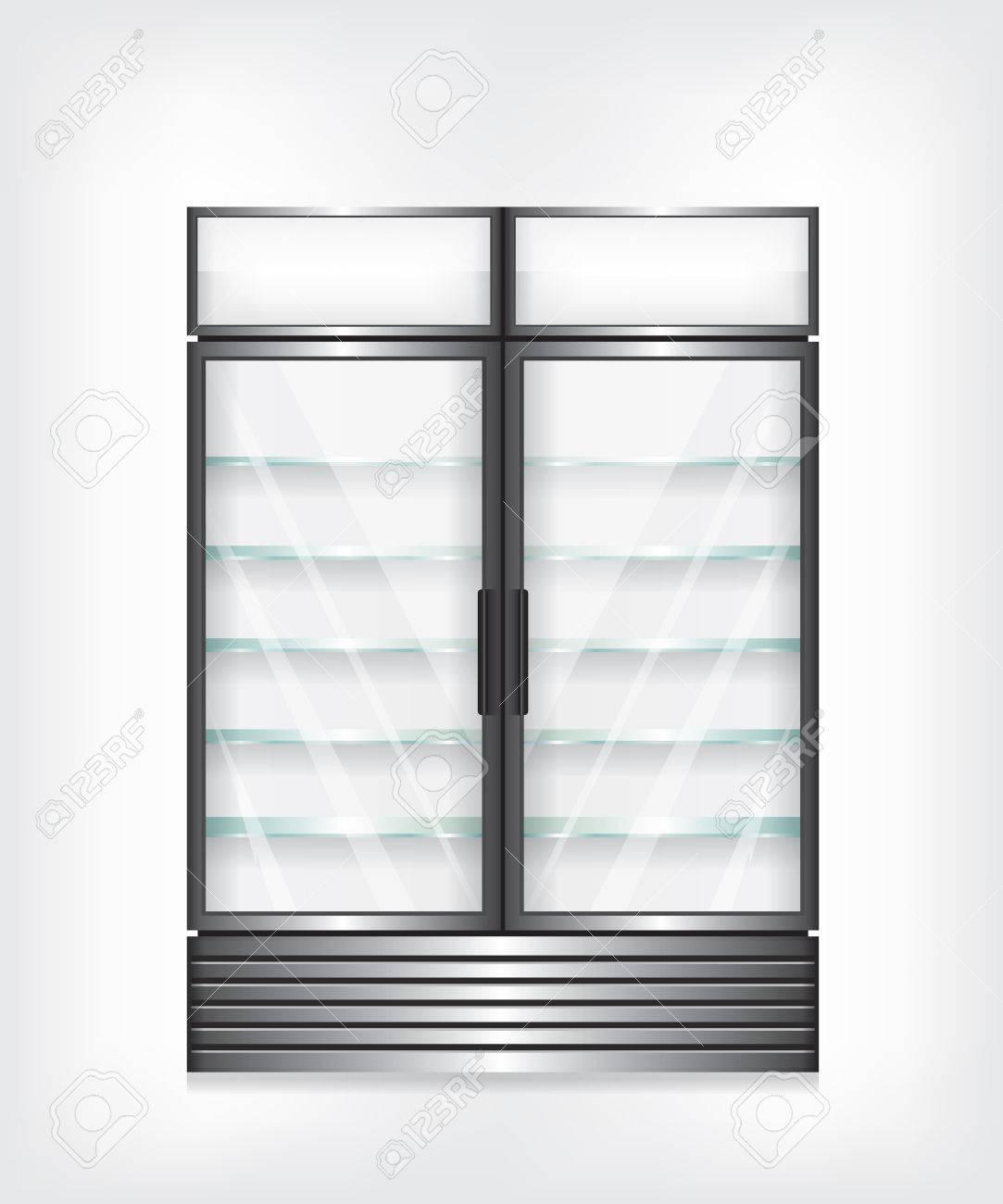 Gewerbe Kühlschrank Mit Zwei Türen Und Glasböden Lizenzfrei Nutzbare ...