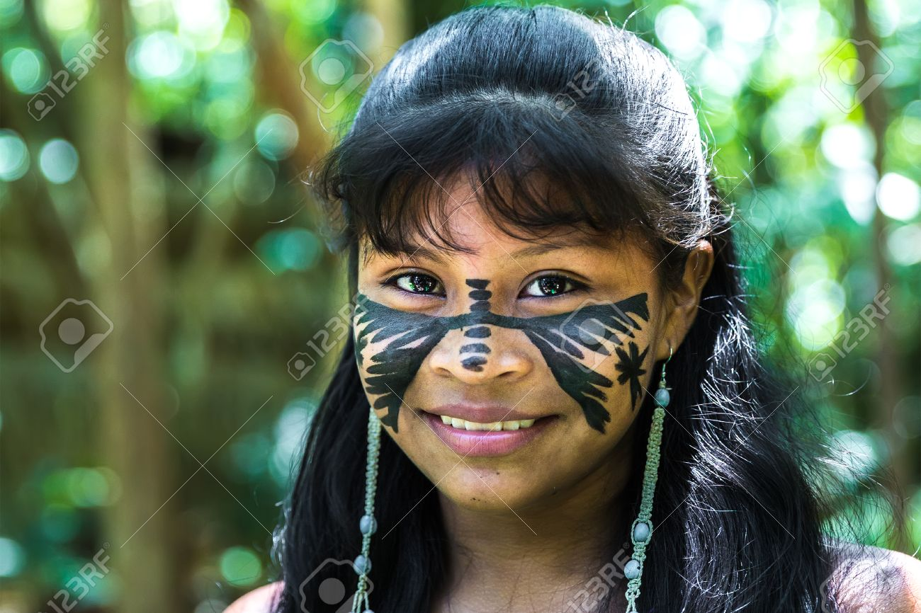 brazilian indian cute girl in amazon, brazil stock photo, picture