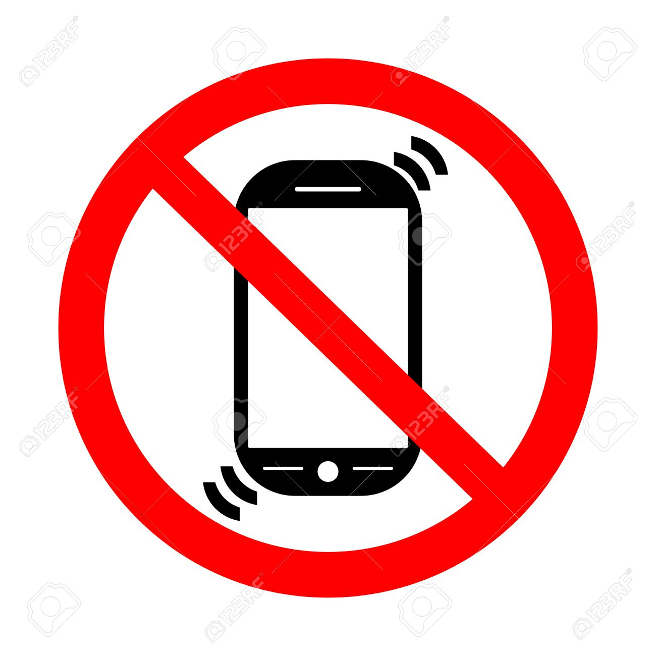 No Cell Phone Sign. Put Phones On Vibration Royalty Free Cliparts ...