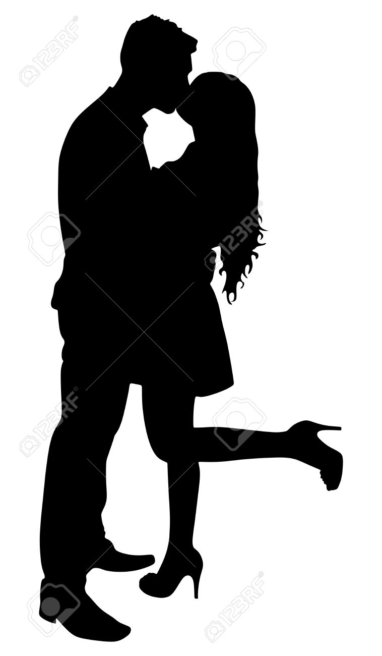 silhouette of young couple in love kissing vector royalty free rh 123rf com vector silhouette landscape vector silhouette images
