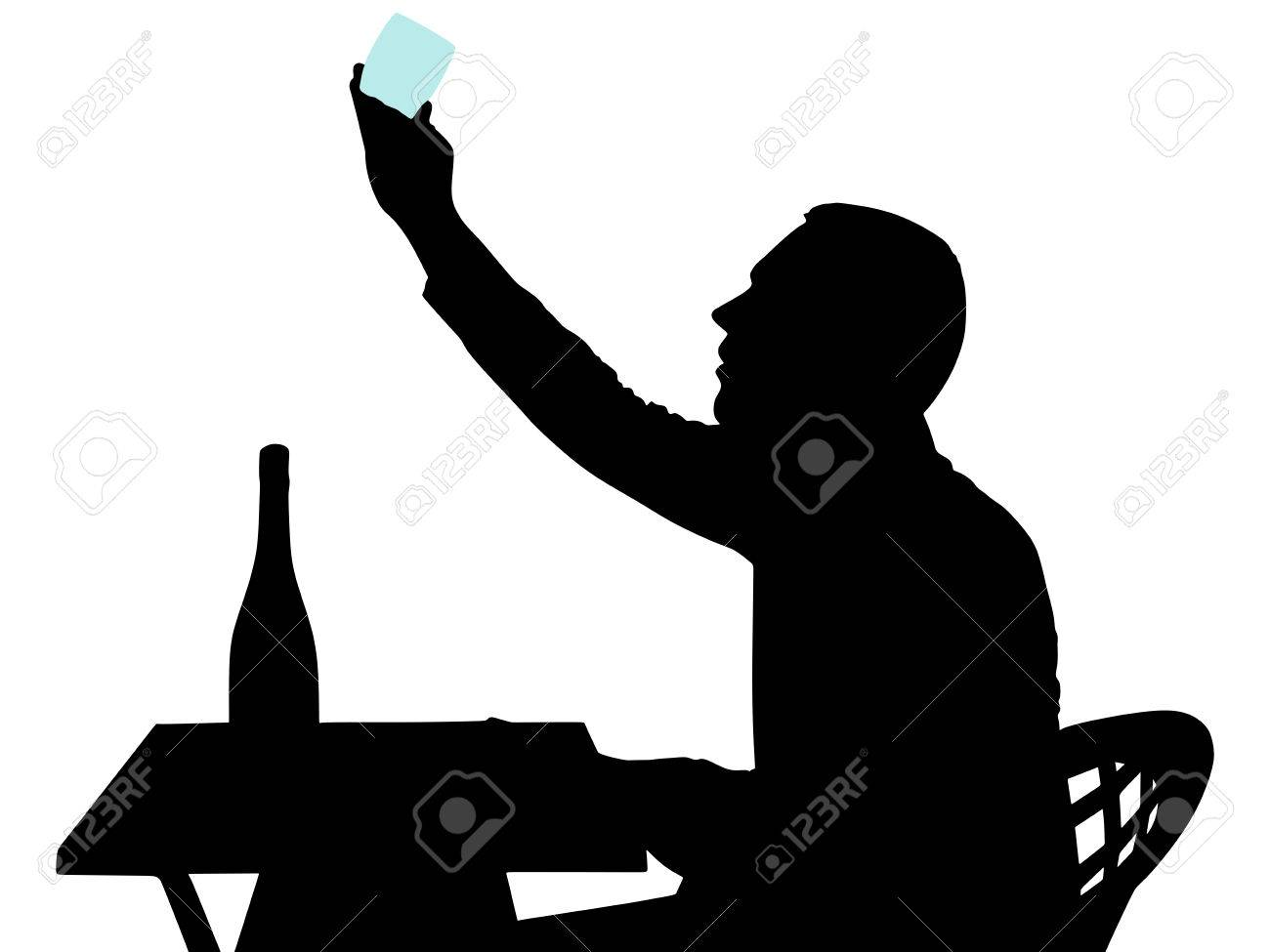 Silhouette Of Alcoholic Drunk Man Vector Royalty Free Cliparts
