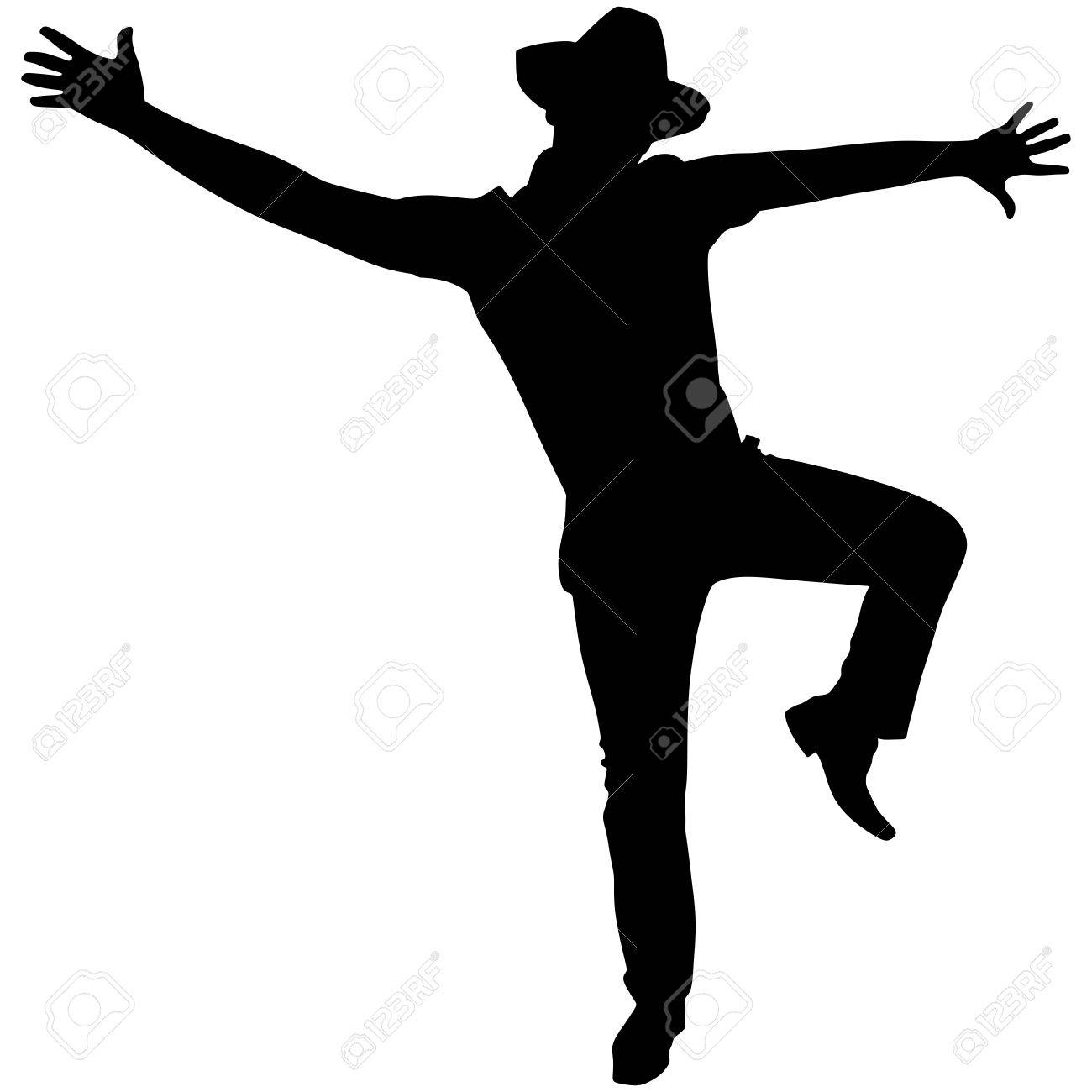 man with hat dancing silhouette vector royalty free cliparts rh 123rf com free vector dance silhouette dancing crowd silhouette vector