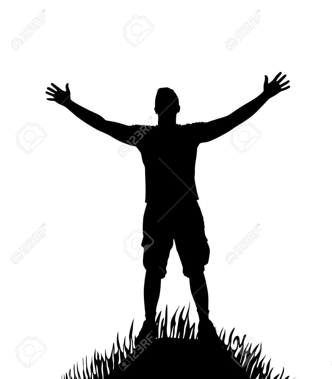 Silhouette Of Man With Open Arms On Hill Stock Vector