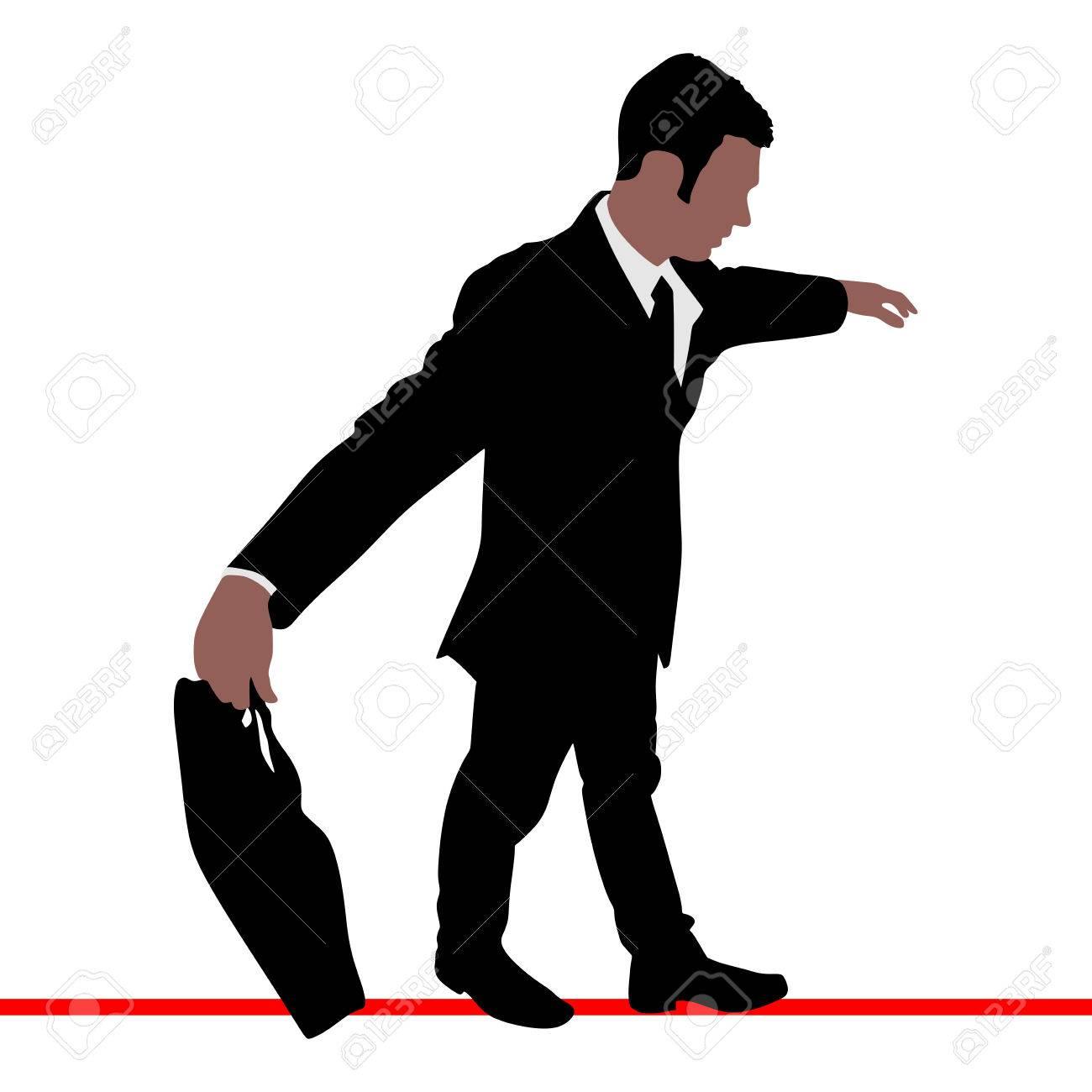 Ein Geschäftsmann, Geht Ein Hohes Draht, Vektor Lizenzfrei Nutzbare ...
